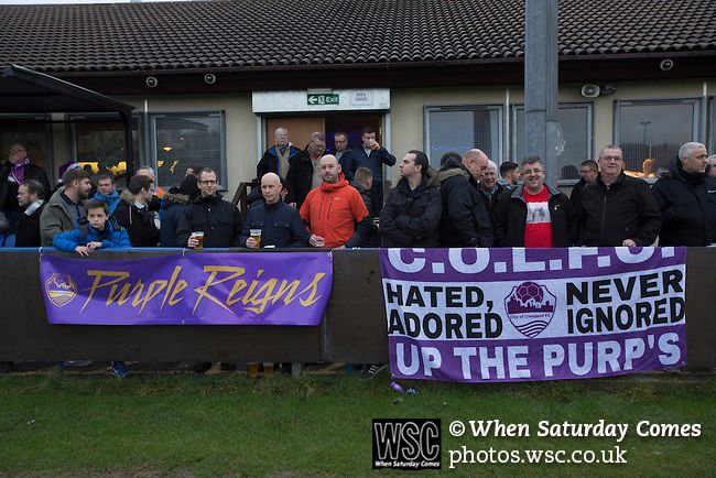 City of Liverpool 6 Holker Old Boys 1, 10/12/2016. Delta Taxis Stadium, North West Counties League Division One. Spectators gather in front of the club house at the Delta Taxis Stadium, Bootle, Merseyside before City of Liverpool hosted Holker Old Boys in a North West Counties League division one match. Founded in 2015, and aiming to be the premier non-League club in Liverpool, City were admitted to the League at the start of the 2016-17 season and were using Bootle FC's ground for home…