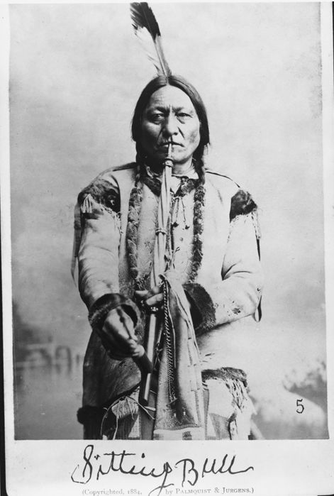 An autographed photo of the Lakota chief, Sitting Bull, who by this time in his life had become a national celebrity as the most fearsome Indian of them all. Photographed by Palmquist & Jurgens in 1884.