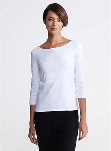 Ballet neck top in cotton interlock eileen fisher for Ballet neck tee shirts