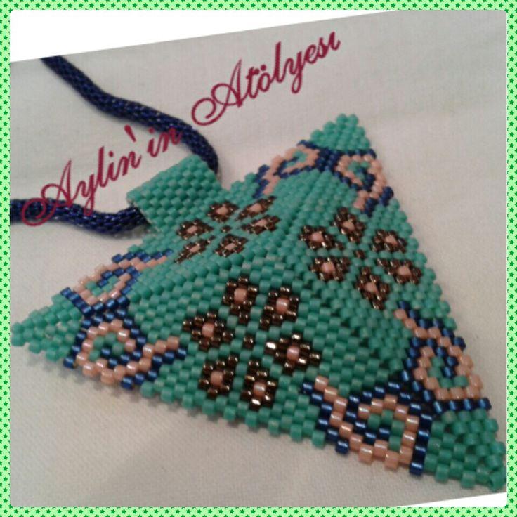 Turquoise miyuki kolye