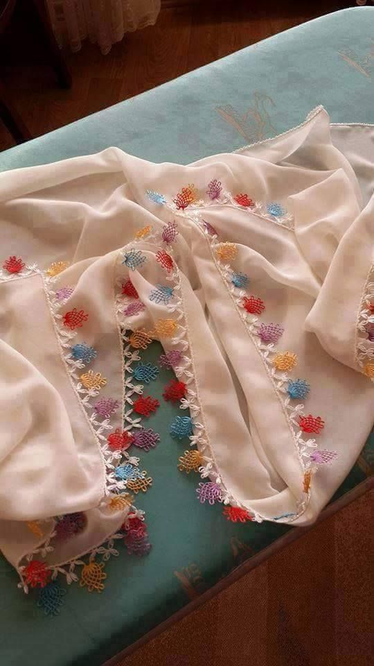 Sade İğne oyası namaz Başörtüsü #crochet #örgü #needle #iğneoyası #iğneoyaları…