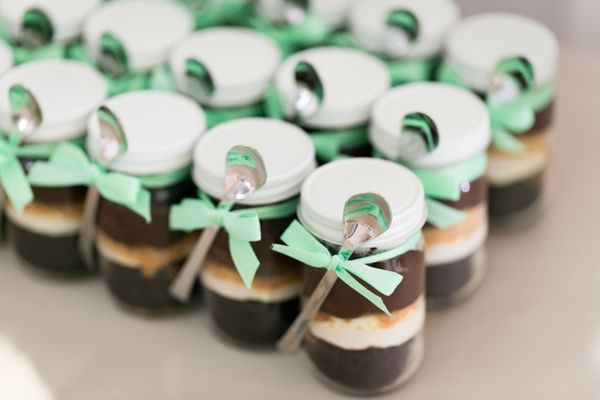 cake in a jar favors // photo by Chris + Jenn Photography, styling by Styling Starts Here // view more: http://ruffledblog.com/romantic-agoura-hills-wedding