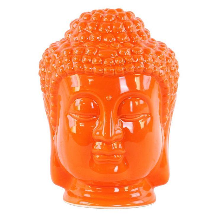 Urban Trends Ceramic Buddha Head Sculpture with Beaded Ushnisha Orange - 35409