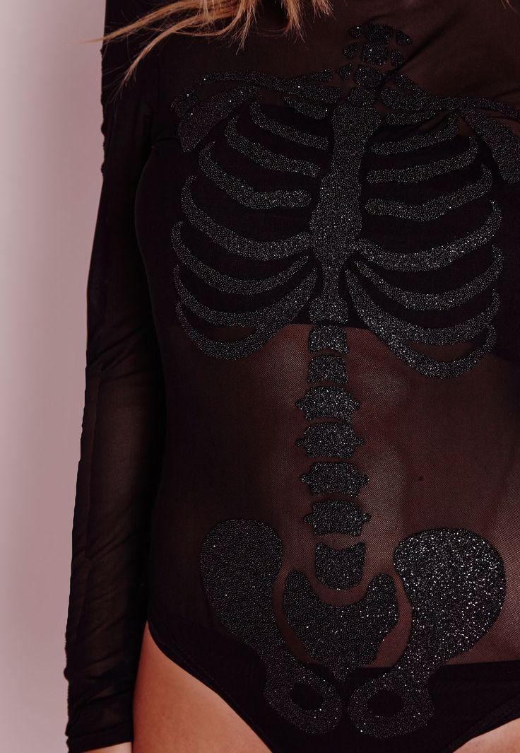 Missguided - Beaded Skeleton Mesh Bodysuit Black