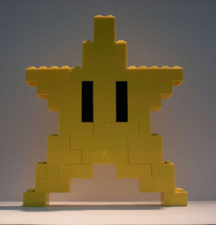 "Lego nintendo super mario bros yellow star lego brick 8 bit custom 5.5 "" new"