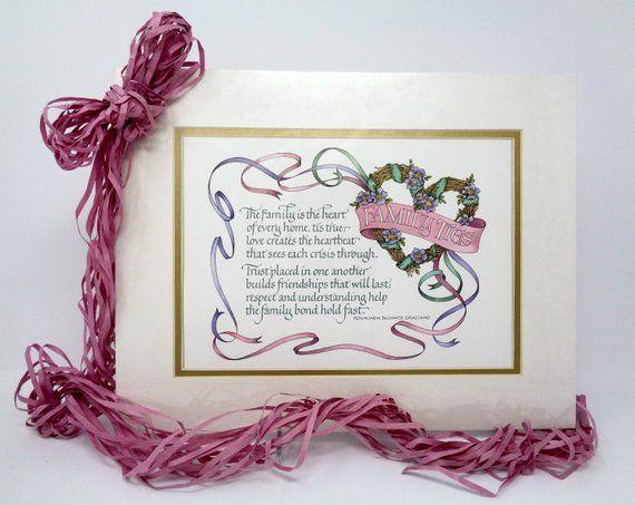 CALLIGRAPHY ART PRINT Family House Gift Wall Print Family Poem