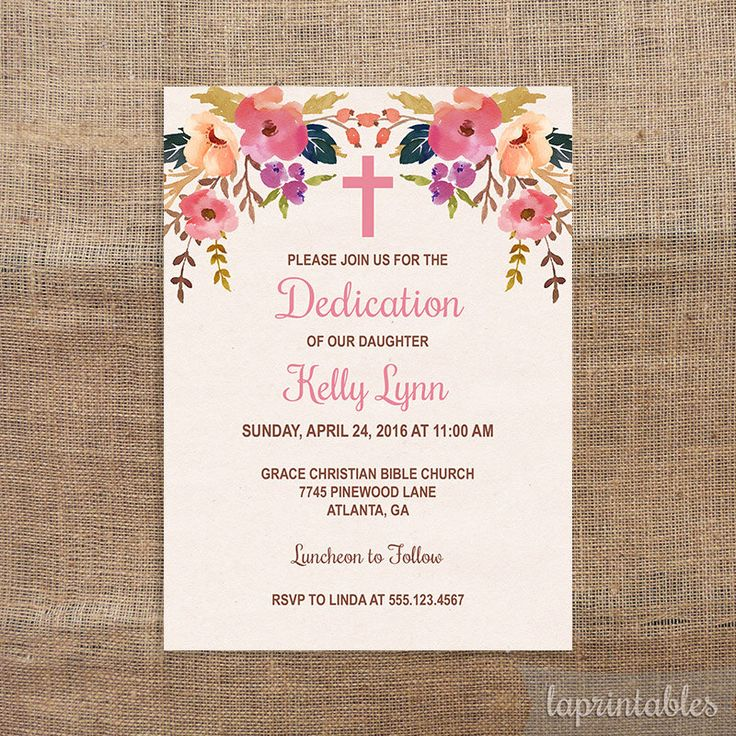 Baby Dedication Invitation, Baby Girl Baptism Invite, Christening Invite, Watercolor Floral, DIY PRINTABLE by laprintables on Etsy https://www.etsy.com/listing/252048533/baby-dedication-invitation-baby-girl