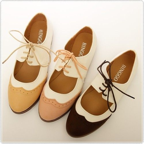 These look cheap too but they're cute! BN Womens Shoes Classics Dress Lace Ups Low Heels Oxfords Shoes Flats Pink Brown