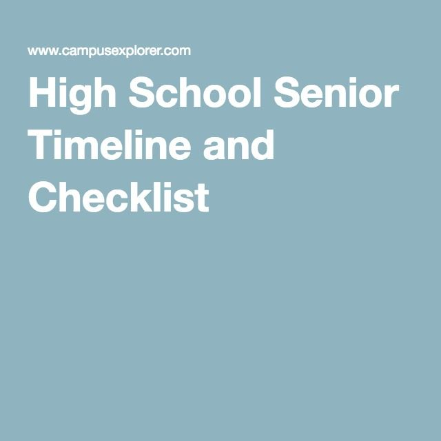 High School Senior Timeline and Checklist