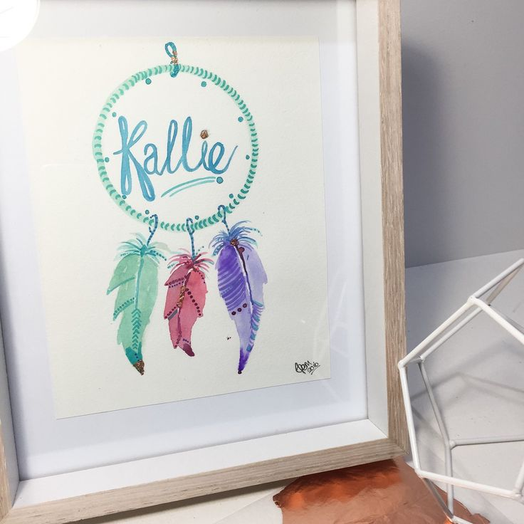 Pretty original personalised dreamcatcher painting! Custom Artwork that you can gift for a special occasion. Perfect nursery decor and a beautiful addition to any bedroom! Affordable art by Glamjamstudiosau that will be treasured forever!