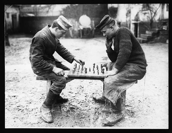 Be careful (the man on the left made this board and chessmen himself) by National Library of Scotland, via Flickr