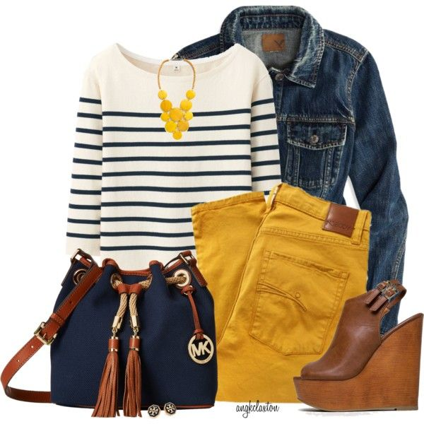 A fashion look from February 2015 featuring striped shirt, denim jacket and high-waisted jeans. Browse and shop related looks.