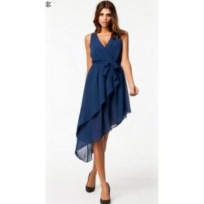 Sexy new fashion waist tie bowknot asymmetric V neck dress