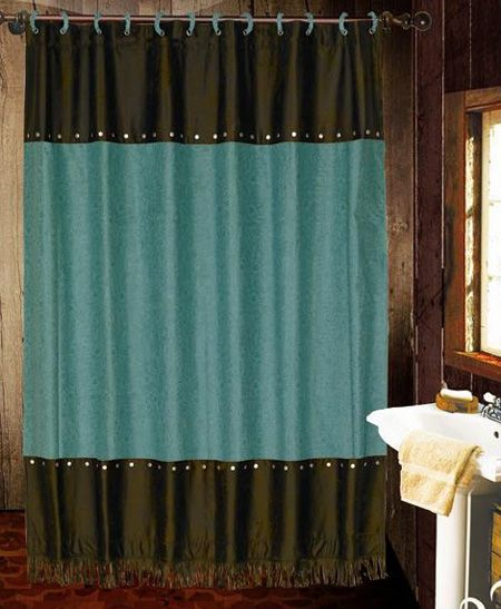 Cheyenne Tooled Faux Leather Southwestern Shower Curtain