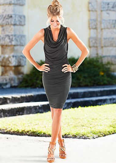 """Dark Grey (RVDG) Draped Front Dress $39 The perfect shade of grey and a stunning cowl neck will add up to a flawless look. · Draped and ruched neckline · 21"""" in length from natural waist · 95% Viscose, 5% elastane · Imported · Style #Z48073"""