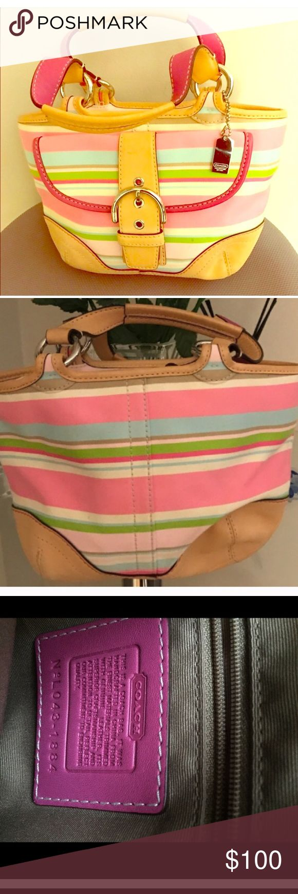 NWOT Coach purse NWOT coach medium sized bag. Beautiful spring/summer bag. Pink and multi color stripes, with leather detail and stripes. Inside split in to 2 part. So much room without looking bulky. 💯 authentic Coach Bags