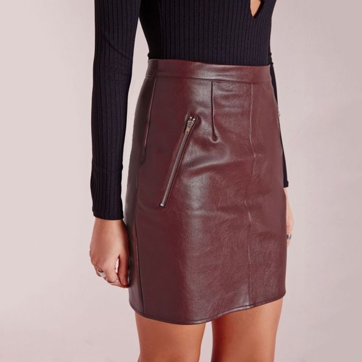 Faux Leather Zip Skirt High Waist Slim Hip Pencil Skirt -  - 4