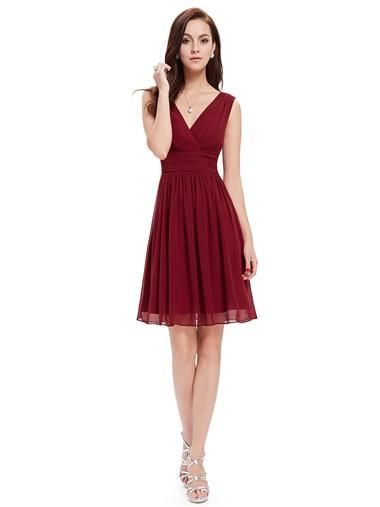 Ever Pretty Double V-Neck Ruched Waist Short Cocktail Party Dress - Ever-Pretty US
