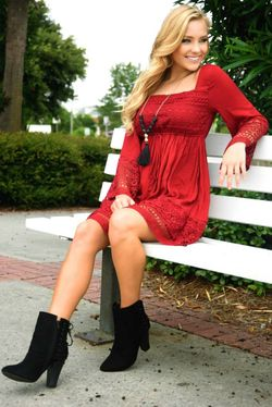 Share to save 10% on  your order instantly!  Beauty Unraveled Dress: Crimson