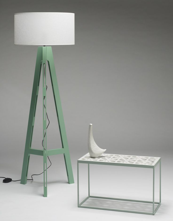 Temperature Design 'Tripod Lamp' (in custom colour) with indoor/outdoor marble Mitchell Table.