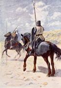 A Saracen approaches a Crusader Knight illustration for The ...  by Vedder Simon Harmon
