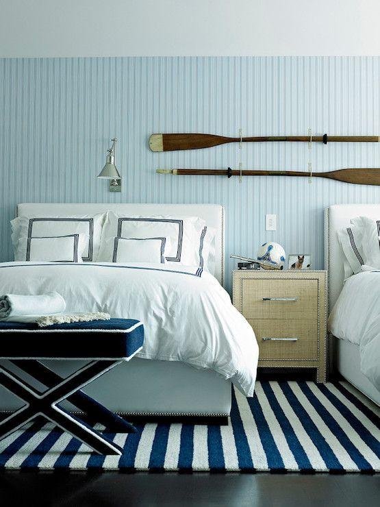 blue coastal cottage bedroom; beadboard walls
