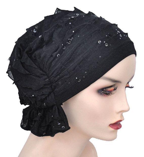 The Abbey Cap® 488 Ruffle Black with Black von ChemoFashionScarf