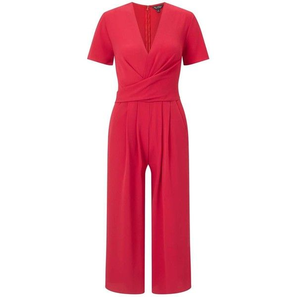 Miss Selfridge Red Twist Front Culottes Jumpsuit (1.445 ARS) ❤ liked on Polyvore featuring jumpsuits, red, red jumpsuit, miss selfridge, miss selfridge jumpsuit, red jump suit and jump suit