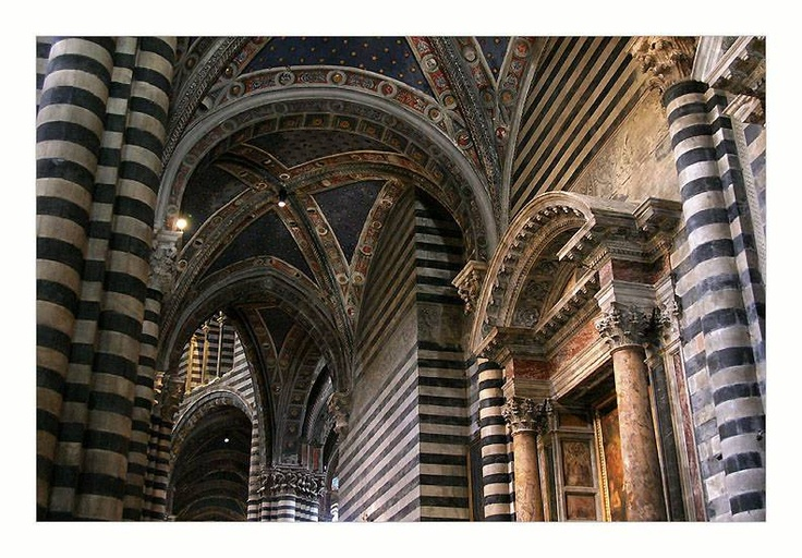 Cathedral in Siena, Italy. I loved it here; can't beat those black and white striped walls!