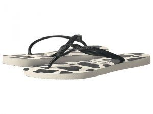 Havaianas Slim Animals Flip Flops (White/Black) Women's Sandals