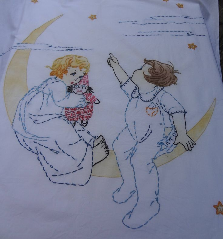 Vintage Crib Flat Sheet / Children Riding the Moon Embroidered Flat Sheet by VintageEncore on Etsy https://www.etsy.com/listing/511955164/vintage-crib-flat-sheet-children-riding