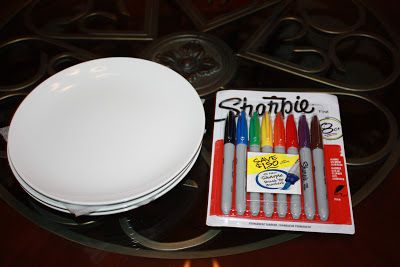 DIY ~ How to Decorate a Plate with a Sharpie | What you'll need: (1.)Plain white porcelain (or anything that is oven safe) plates. (2.) Colorful Sharpie Markers. - Bake at 350 degrees for 40minutes to let the markers set.