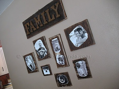 Decoupage Family Photo Plaques.      I'm not loving the wood (maybe its to dark for me) but I bet this would look awesome of some slate.