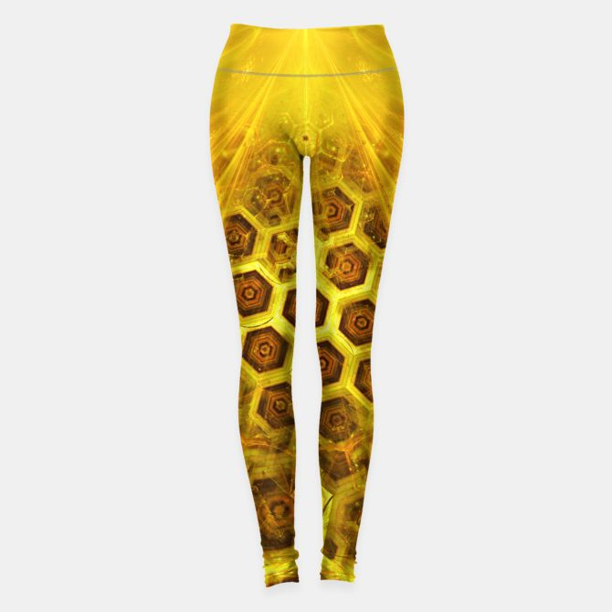 Golden Honeycombs Leggings, Live Heroes @liveheroes by @photography_art_decor. All product: https://liveheroes.com/en/brand/oksana-fineart #fashion #clothing #online #shop #gold #golden #honeycombs #honey #bee #summer #graphic #design #geometry #geometric #yellow #metalic #bright #shine #pattern #psychedelic #abstract #metalic #sun #abstract #briht #pattern  #trendy #stylish #fashionable #modern #awesome #amazing #clothes