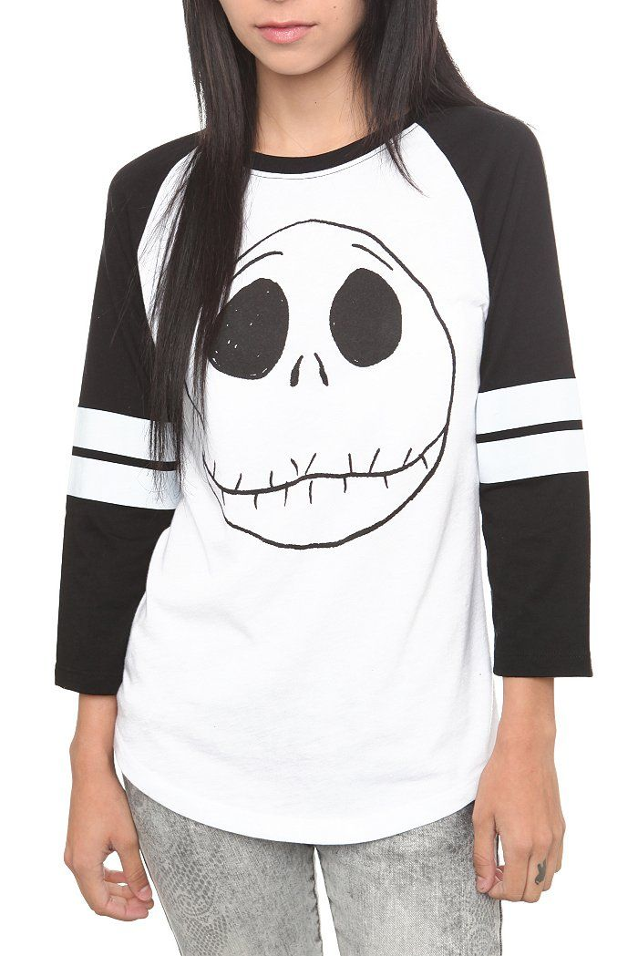 THE NIGHTMARE BEFORE CHRISTMAS JACK HEAD GIRLS HOCKEY RAGLAN $26.50