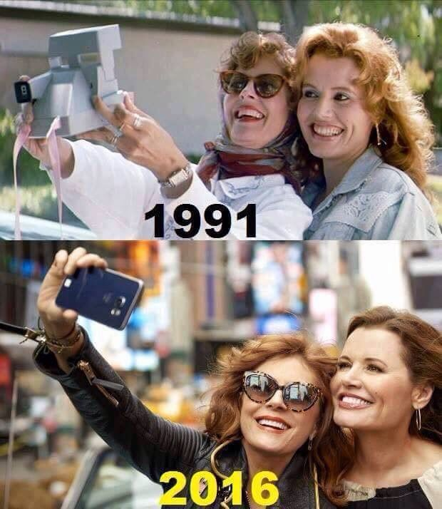 "Oscar-winners and Stars of ""Thelma & Louise"" Susan Sarandon & Geena Davis still beautiful and putting young girls in Hollywood to shame. The original inventors of the selfie!"