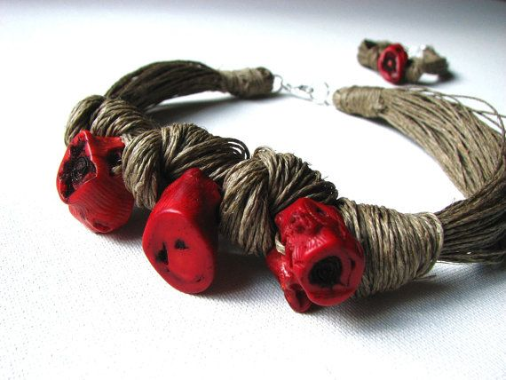 NatuRal ReD coRaL  linen necklace by GreyHeartOfStone on Etsy, $36.00