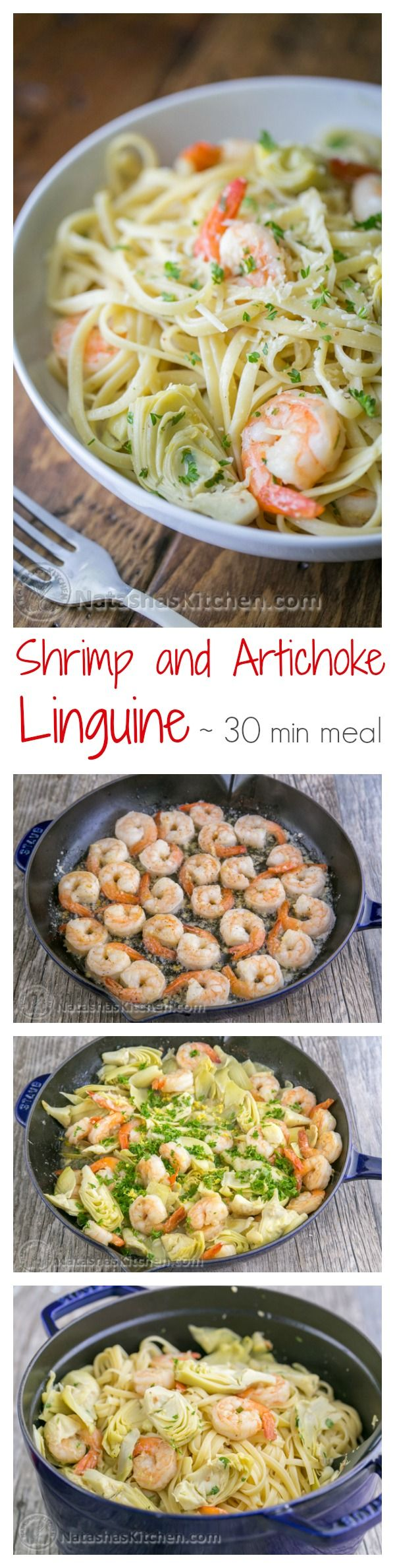 This shrimp and artichoke linguine pasta is a 30-minute meal! It has a fresh and light lemon herb sauce - DELICIOUS!! | natashaskitchen.com