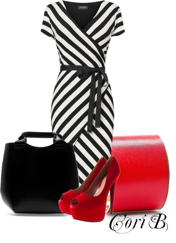 """Stripe Red"" by cori-black ❤ liked on Polyvore"