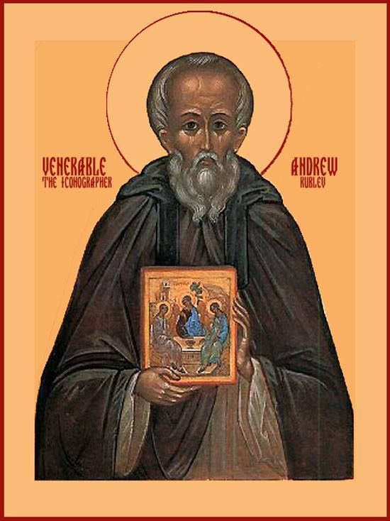 Saint Andrew Rublev, Russia's greatest iconographer, was born near Moscow sometime between 1360 and 1370. While still very young, he went to the Holy Trinity Monastery, and was profoundly impressed by St Sergius of Radonezh.