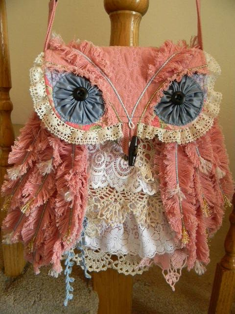 shabby chic owl bag, so cute                              …