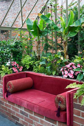Love the IDEA for inside a greenhouse. Make brick in to shelves for storing supplies, white twinkle lights, and a table for a rustic version with multiple purposes.