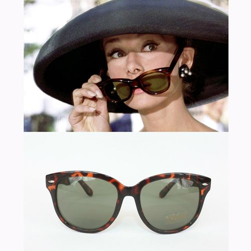 Put your own spin on a signature Audrey style by sporting these ultra-chic, cat-eyed sunglasses. Our replica frames come in the exact shape, style and rich tortoiseshell color as the ones worn by Audr