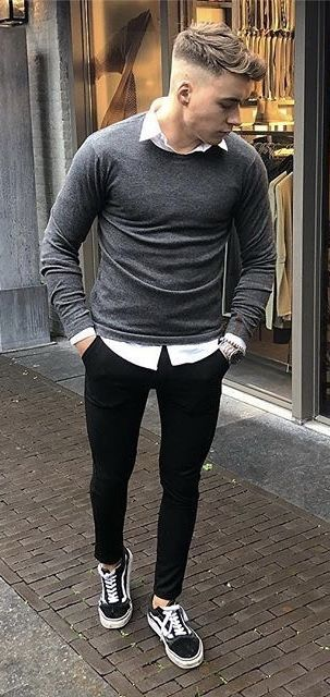 db5da07b21  merijnpijs - with a monochrome fall business casual outfit with a gray  sweater white button up shirt silver watch black slim cut chinos no show  socks vans ...