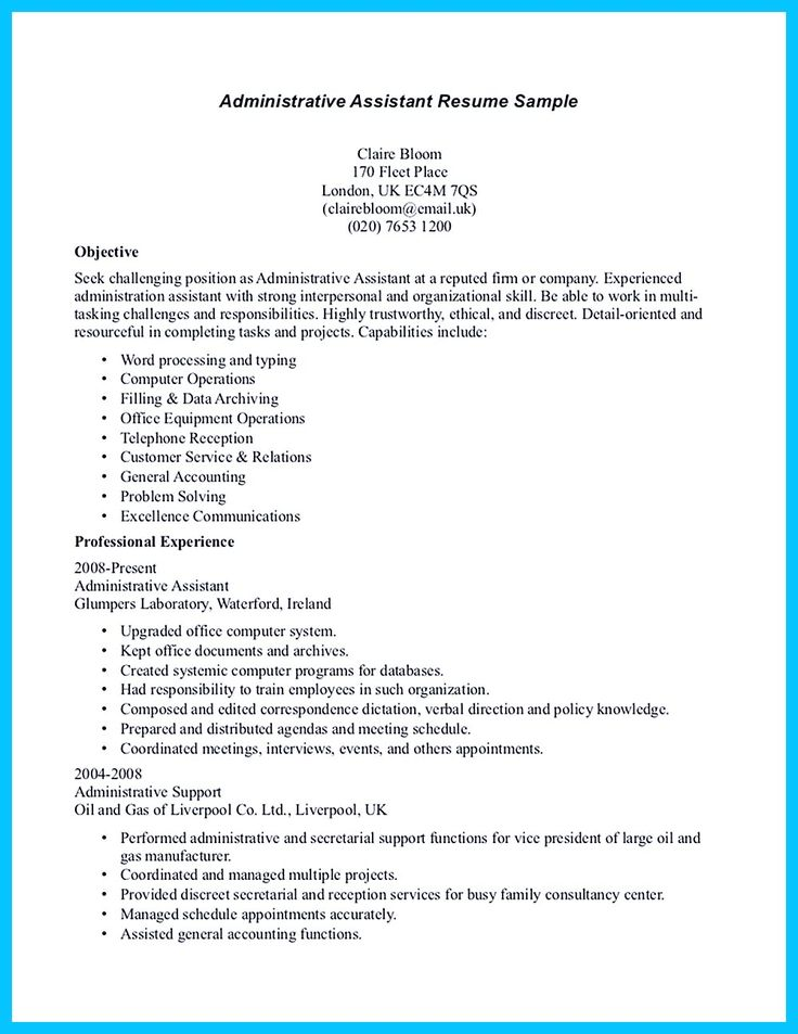 8 best Admin assist cover letter images on Pinterest Cover - administrative professional resume