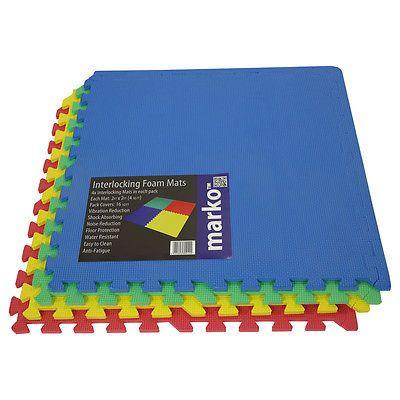 32 SQ FT Interlocking EVA Soft Foam Exercise Floor Mats Play Area Multicoloured