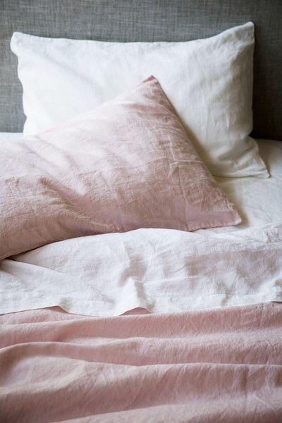 bedroom // pink linen sheets