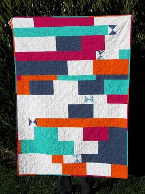 thREDhead Cuzco Charm Crossing - improv backing to the quilt!