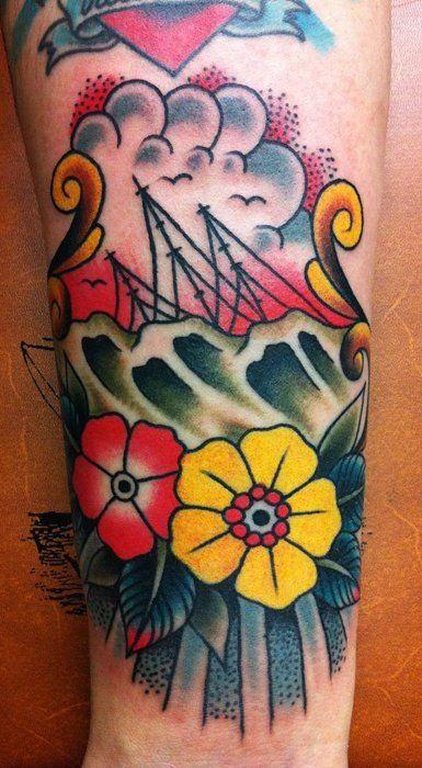 Sinking ship free hand tattoo by samuele briganti cool for Sinking ship tattoo