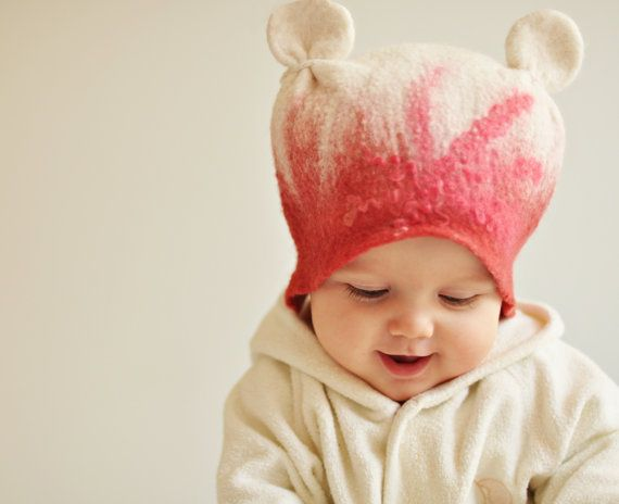 Felted baby girl hat Happy ears Ready to ship by ShpilkaFelt, $40.00